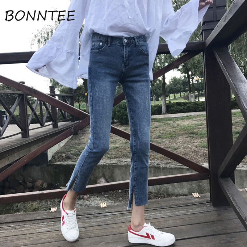 Jeans Women New Scratched Zipper Pockets Chic Pencil Pants Womens Skinny Soft Students Korean Style High Quality Simple Daily