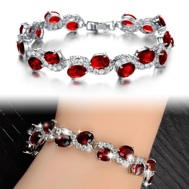 Fashion Classical Red Crystal Stone Women Bracelet New Designer Charm Link Chain Bracelets Jewelry In Silver Color 926