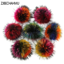 Fashion New 15cm Multicolor Real Raccoon Mink Fox Fur Ball 20 Colorful Winter Pom Poms For Shoe Bag Hat Cap Accessories