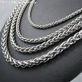 Customizes 3 4 5 6mm Width Silver Man Necklace 316L Stainless Steel Snake Curb Chain Necklace Fashion Stainless Steel Jewelry