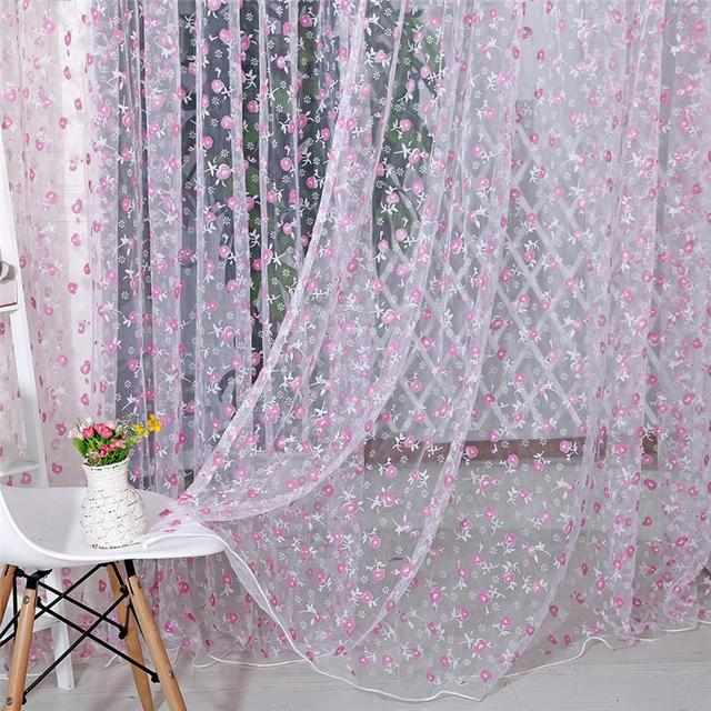 1Pcs Floral Tulle Voile Door Window Curtain Drape Panel Sheer Scarf Valances  Curtains For Living Room Part 33