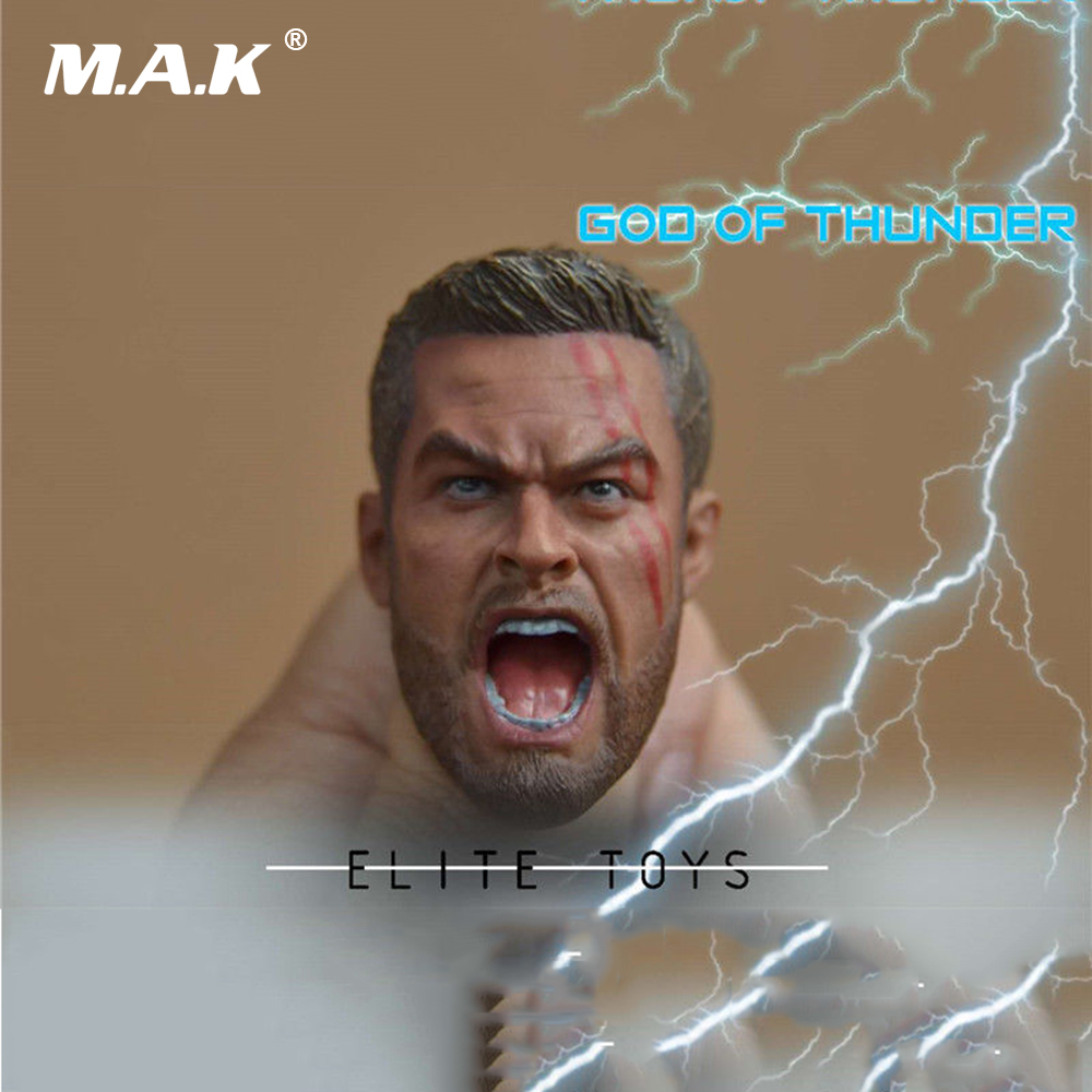1:6 Man Figure Accessory God of Thunder THOR Male Head Sculpt Carving Damaged Ver. for 12 inches Action Figure Body цена