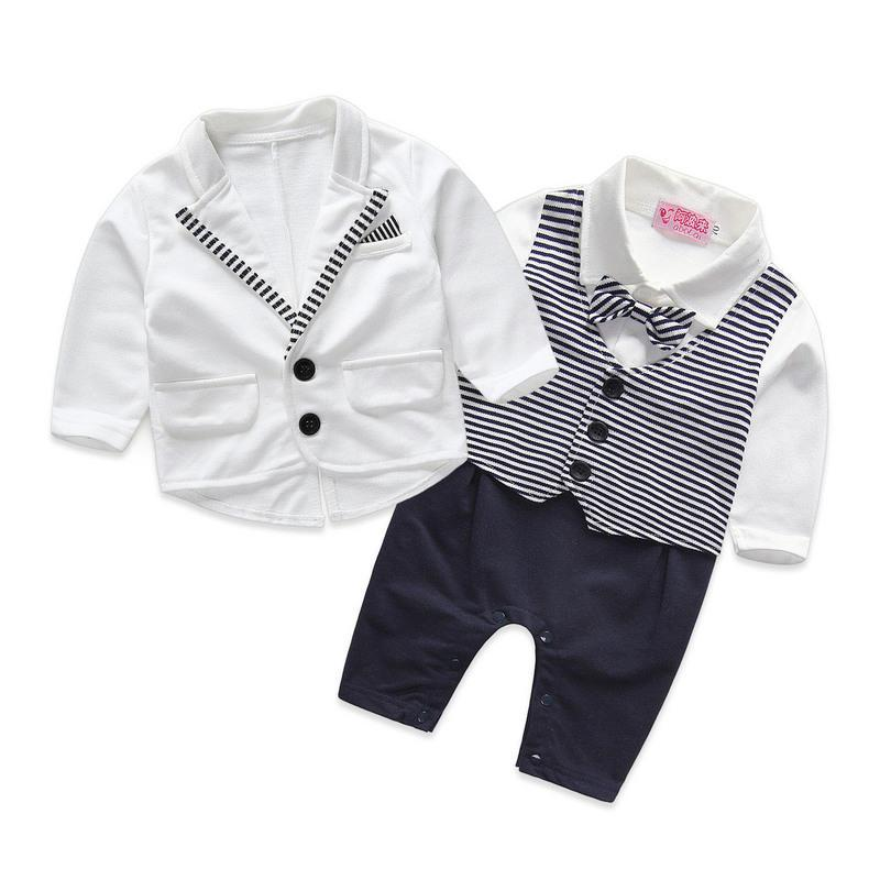 gentleman baby boy clothes white coat+ striped rompers clothing set newborn wedding suit gentleman baby boy clothes black coat striped rompers clothing set button necktie suit newborn wedding suits cl0008