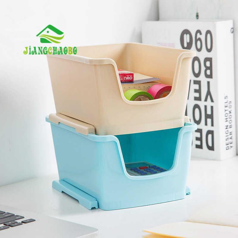 Caixa de Armazenamento De plástico Empilhável Penteadeira Mesa de Café Cesta de Armazenamento de Controle Remoto de Desktop caixa de Acabamento Caixa de Cosméticos