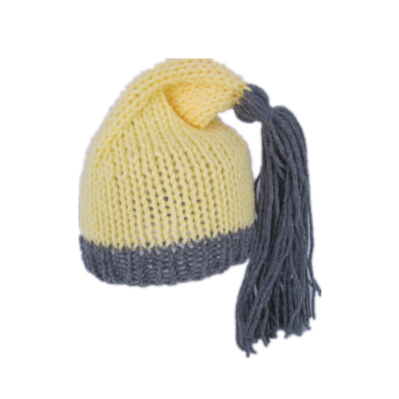 Manual knitting sweater baby yellow and gray collocation of clothes3