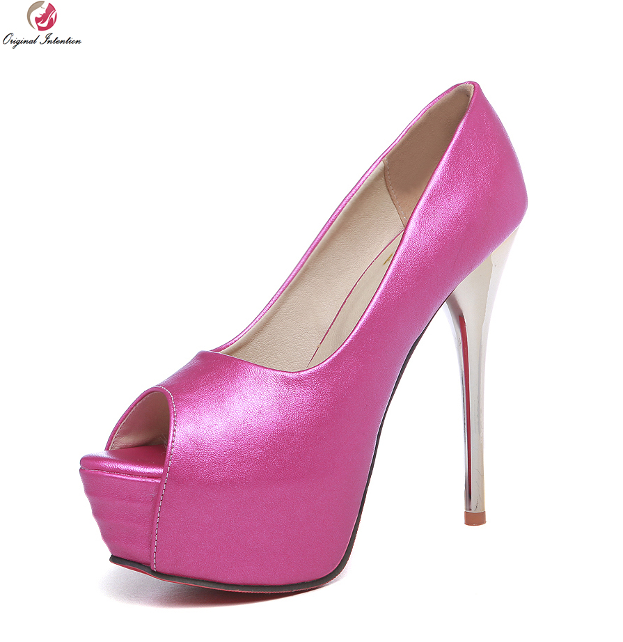 Original Intention Women Pumps High-quality Thin Heels Pumps Soft Leather Blue White Pink Red Shoes Woman US Size 4-12 original intention shoes woman high heels pumps red high heels 10 5cm women shoes wedding shoes pumps black pink blue size 30 48