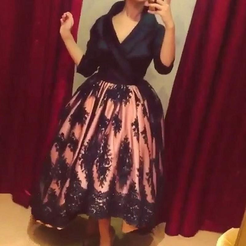 Think dubai robe De soirée robes De-V-2016 cou dentelle partie De bourgeon soie Cheville robe De soirée SD4521 robe De Bal De célébration