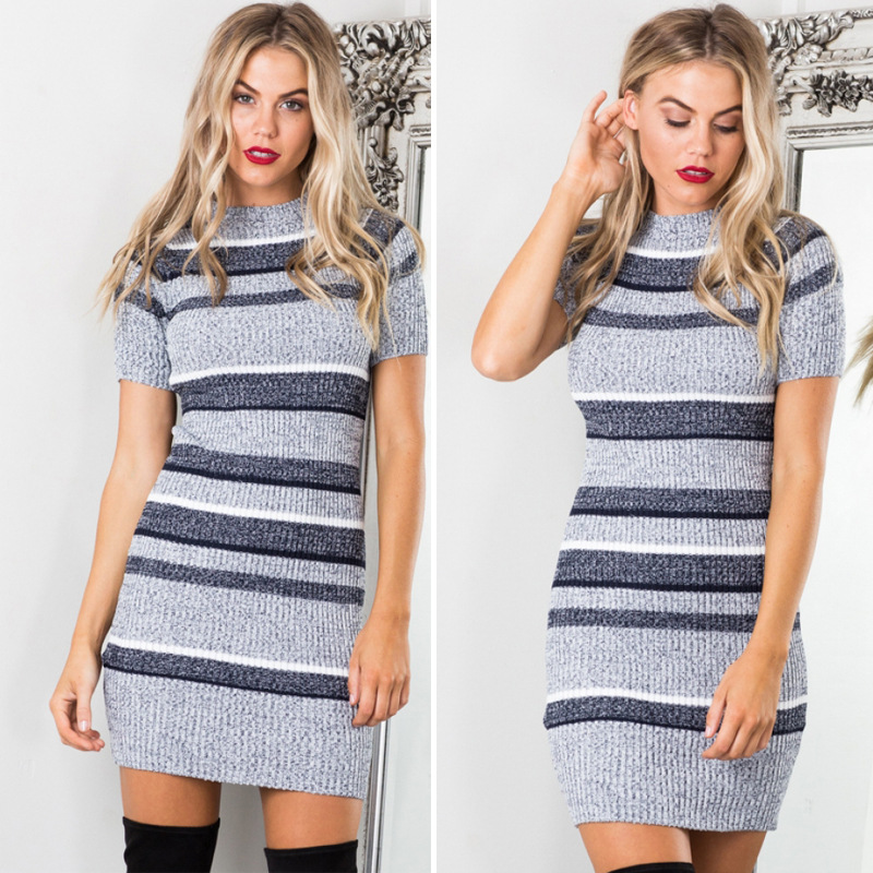 7c3cd44e4d42 Ladies Knit Dress Autumn Women O Neck Short Sleeve Brief Stripe Sexy  Bodycon Dress Elegant Casual Slim Short Dress vestidos-in Dresses from  Women's Clothing ...
