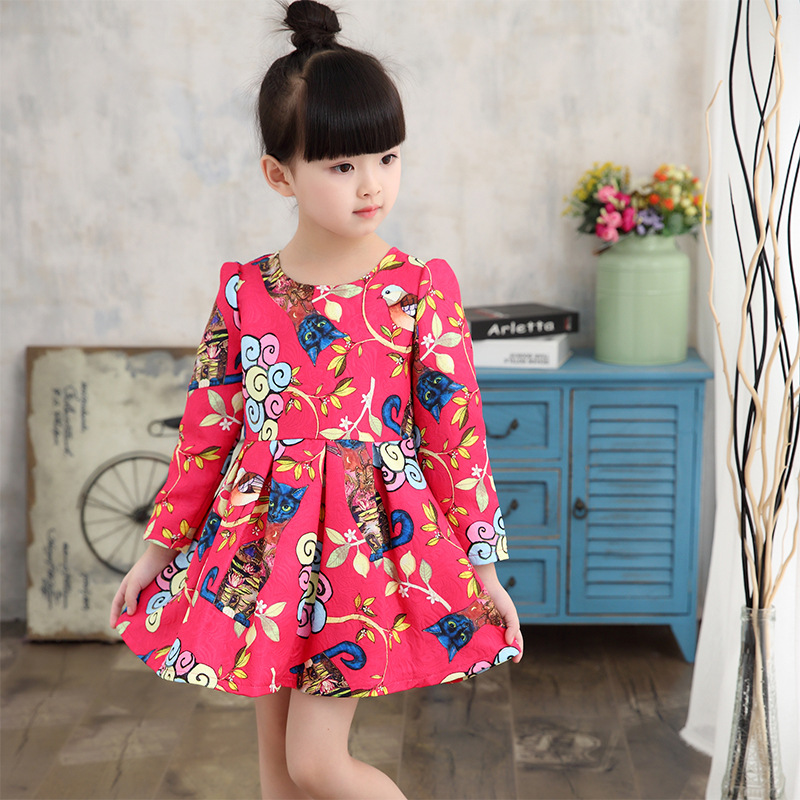 c54ed25bf944 2017 Kids Dress Autumn Winter Fashion Baby Girl England Style Long Sleeve  Dress Children Clothing Casual Girl Clothes 4 13Y-in Dresses from Mother    Kids on ...