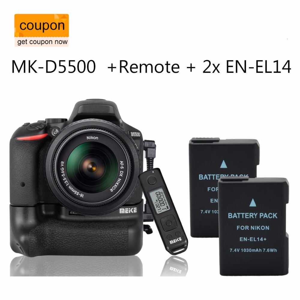 Meike MK-DR5500 DR5500 Battery Grip For Nikon D5500 2.4G Wireless Remote Control + 2 xEN-EL14 meike vertical battery pack grip for nikon d5300 d3300 2 en el14 dual charger