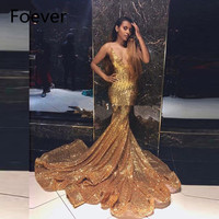Long Train Deep V Neck Sparkling Sequin Gown Gold Evening Party 2019 Sexy Mermaid Prom Dress