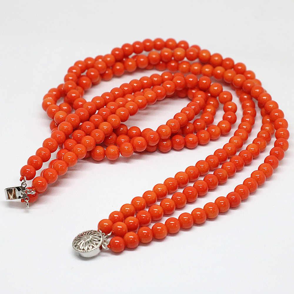 3 ряда розовый оранжевый искусственный Коралл модный дизайн 6 мм, круглые бусины ожерелье красивые вечерние ювелирные изделия в подарок 18 дюймов B1451