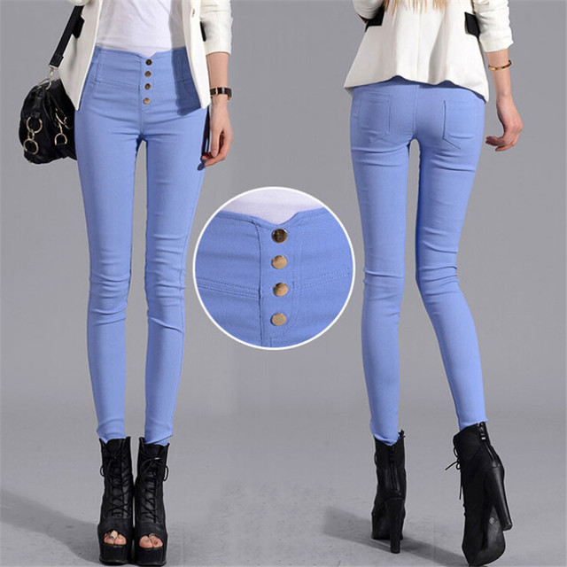 Button Leggings Skinny Leggins Women Pencil Trousers Plus Size Legging Slim Ladies Pantalones Female Candy Color Clothes K131