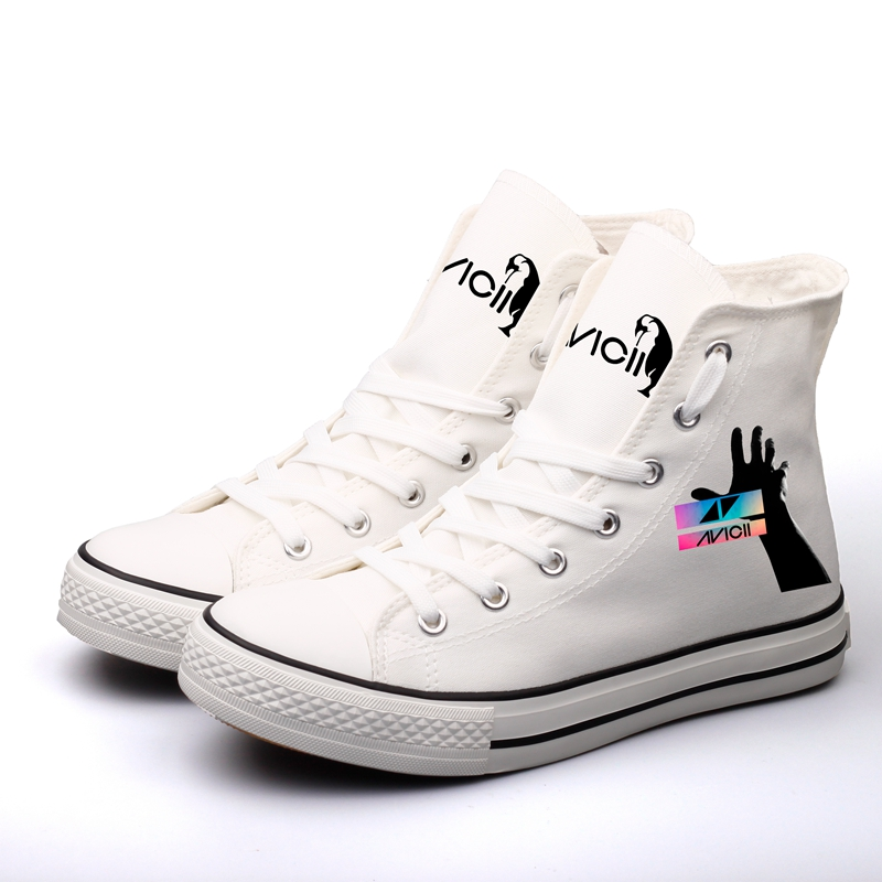 E-LOV Graffiti Design DJ Rock Music Stars Printing Canvas Shoes Women Summer Espadrilles High Top Lace-up Casual Flats e lov unique design taurus horoscope luminous canvas shoes women diy graffiti couples lovers casual flats zapatillas mujer