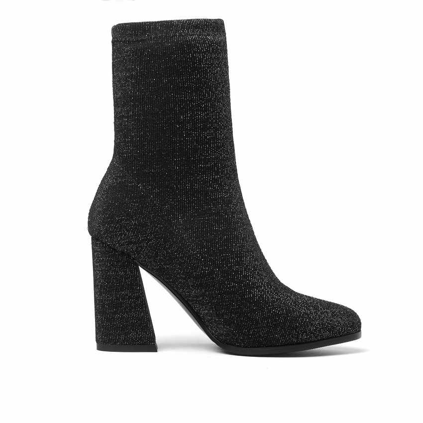 QUTAA 2020 bayan ayakkabı orta buzağı çizmeler kare yüksek topuk kış çorap çizmeler sivri burun streç platformu kadın botları boyutu 34-43