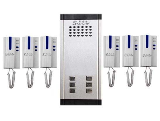 SMTVDP Direct Press Key Audio Door Phone for 6 apartments, 2-wired audio intercom system ...