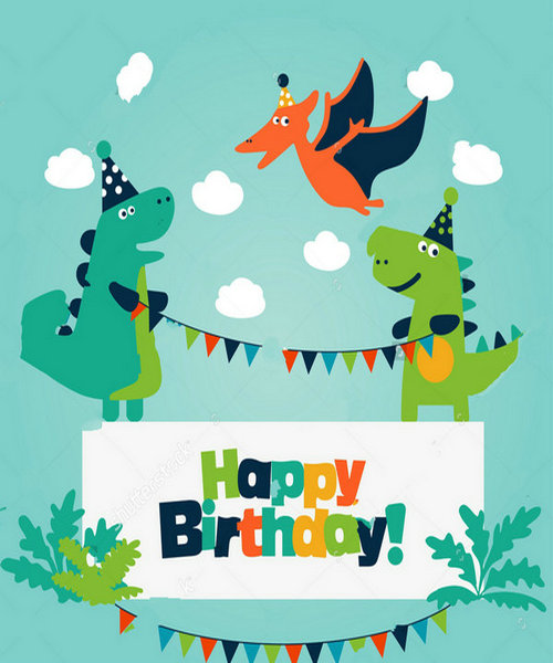 Anniversary Dinosaur Happy Birthday clouds leaves background Vinyl cloth High quality Computer print party backdrop