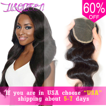Li&queen middle part peruvian lace wave body closure human virgin free