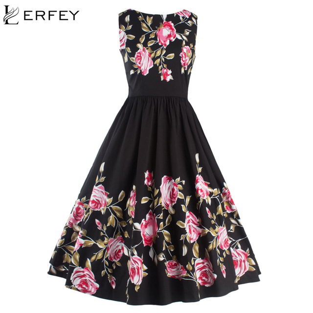 b90d6a6f0635 LERFEY Women Summer Elegant Dress Vintage Rose Floral Print Pleated Party  Sleeveless Casual Big Swing Dresses Womens Clothing