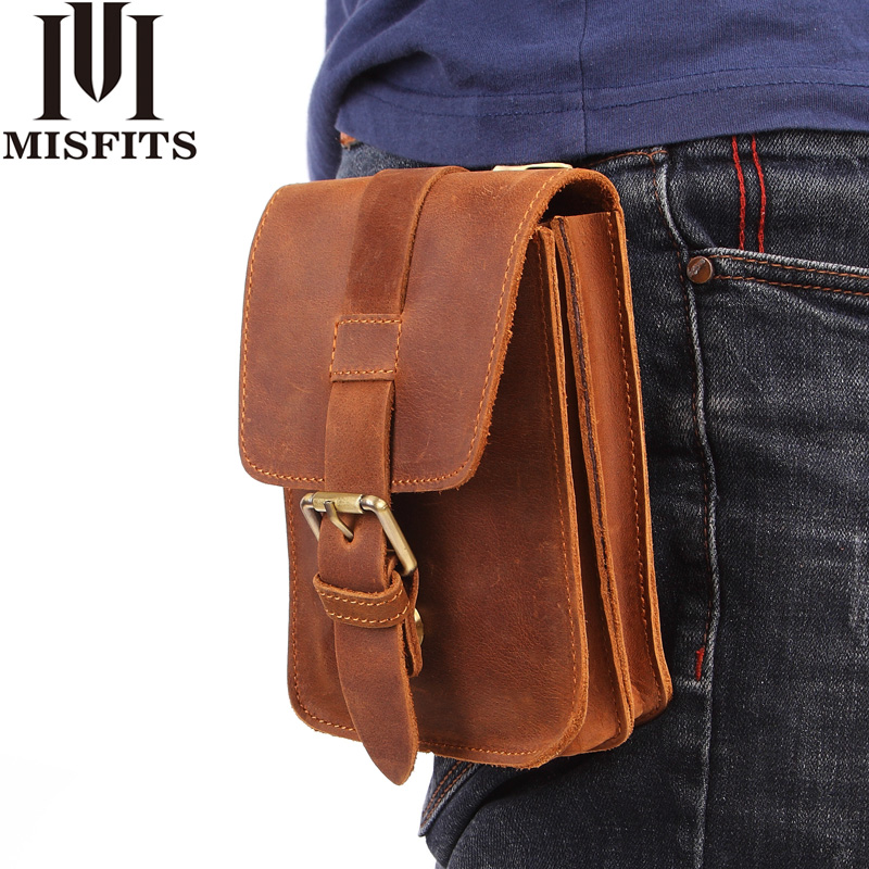 MISFITS Crazy Horse Cow Leather Mens Waist Bag Genuine Leather Travel Small Fanny Pack Belt Loops Hip Bum Bag Male Phone Pouch