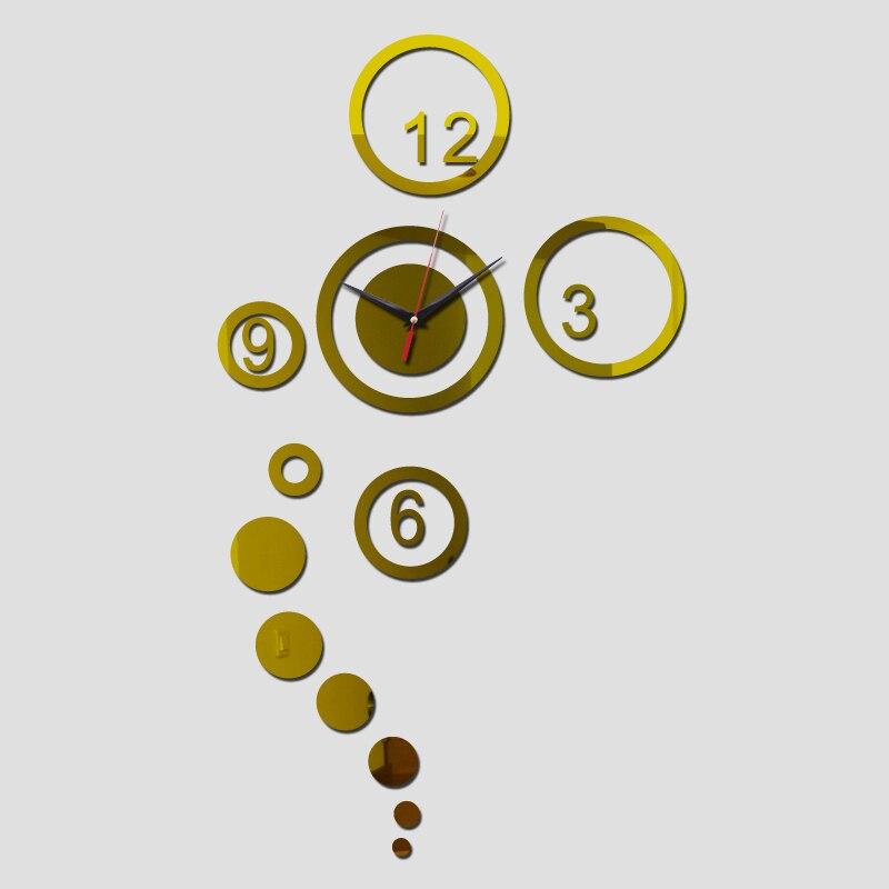 2015 nova moda novidade relógio de parede de acrílico diy superfície do espelho adesivos de quarto real de quartzo relógios de decoração frete grátis