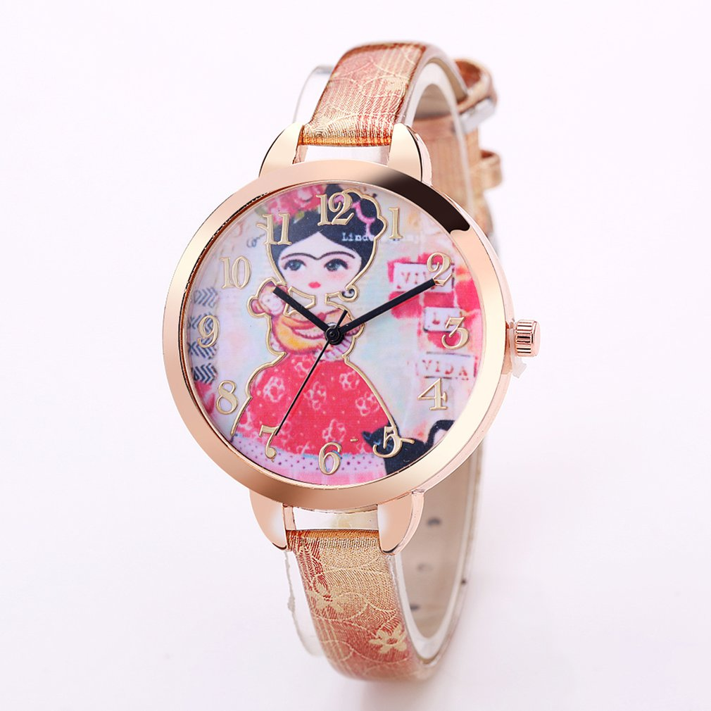 Watches 2018 Women Slim Leather Strap Wristwatch Casual Girl With Monkey Quartz Watch Ladies Big Round Dial Watches Female Watches Gift