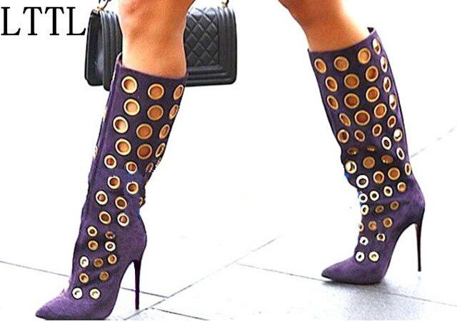 a4b8a50291961 US $85.6 35% OFF|Lttl sexy winter frauen kniehohe stiefel ausschnitte polka  dot stiefel Spitz High Heel Frauen Wildleder Schuhe Mode Gold Löcher ...