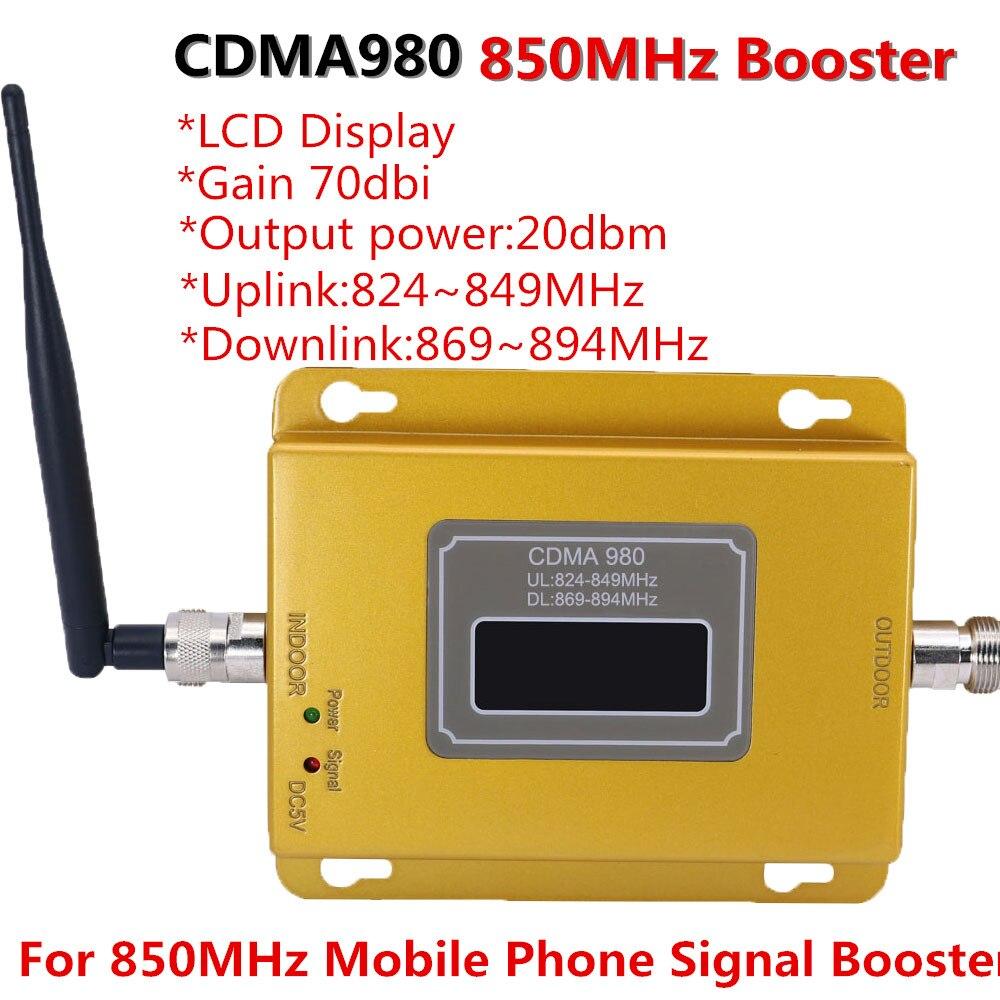 70dB LCD affichage fonction 980 CDMA 800 mhz gain élevé CDMA 850 Mhz amplificateur de signal de téléphone portable, amplificateur cdma répéteur de signal GSM