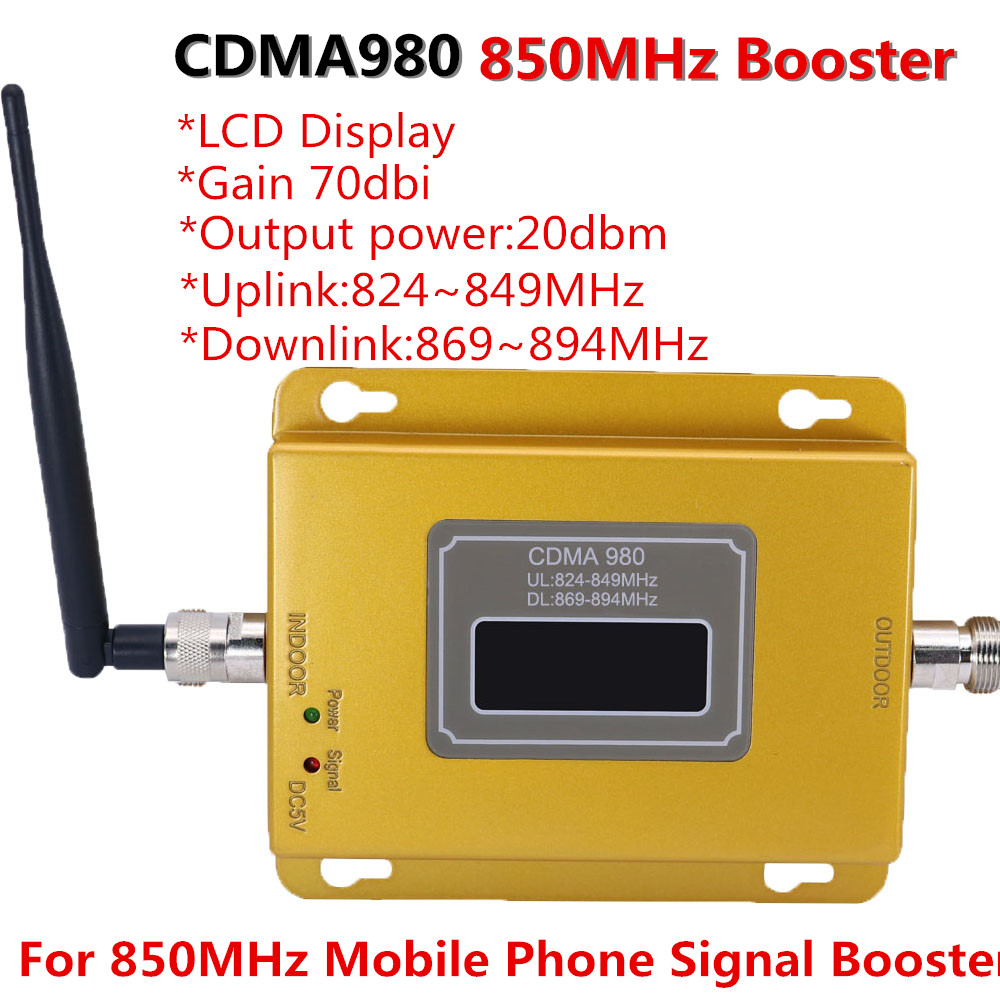 70dB LCD display function 980 CDMA 800mhz high gain CDMA <font><b>850Mhz</b></font> mobile phone signal booster,GSM signal repeater cdma amplifier image