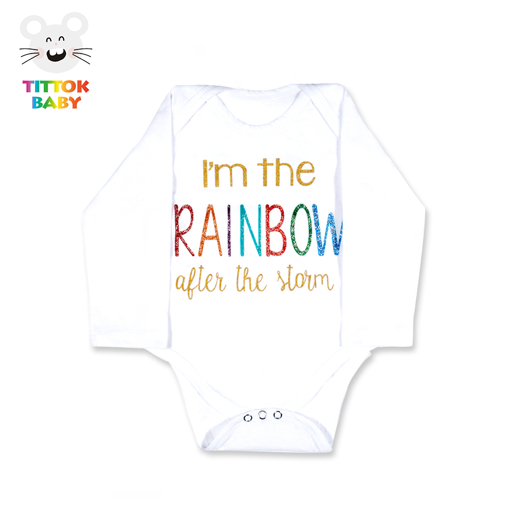2017 Funny Newborn Infant Clothes IM The Rainbow Letter Print White Long Sleeves Tiny Cottons Baby bodysuits Baby Onesie Fashion