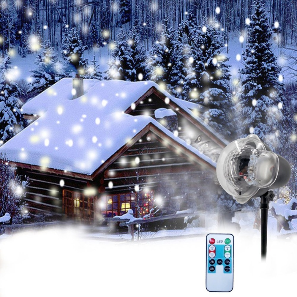 Christmas Snowflake Laser Light Snowfall Projector IP65 Moving Snow Outdoor Garden Laser Projector Lamp For New Year Party Decor