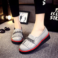 new heavy-bottomed round toe Harajuku retro platform shoes England preppy style tassel chain slip on loafers female casual flats