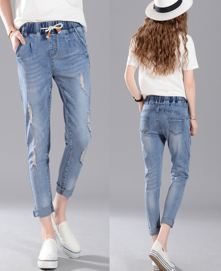 26 34 Big Student Jeans Regular solid pencil pants Holes Ankle length senior Girl soft skinny