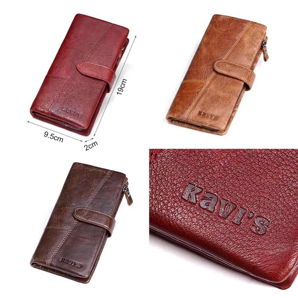 KAVISของแท้หนังผู้หญิงกระเป๋าสตางค์หญิงคลัทช์Walet Portomonee RFID Luxuryยี่ห้อเงินMagicซิปกระเป๋าเหรียญ