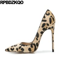 Suede Leopard Print High Heels Prom Size 33 Pumps Pointed Toe Super Closed Stiletto Women 4 34 Autumn Spring Chinese China