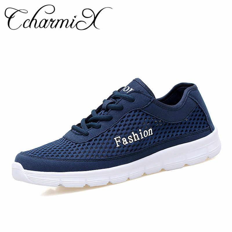 84c4bc86 CcharmiX/большой размер 48, мужская повседневная обувь, новые дышащие  летние сетчатые туфли на