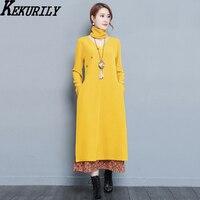 KEKURILY Women Dress Yellow Black Party Dresses Winter Warm Plus Size Large Female Elegant Vintage Fake
