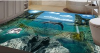 Home Decoration Dolphin Bathroom Bedroom 3D Sea Floor Floor 3D Wallpaper Floor For Living Room 3D