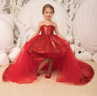 2019 Sparkle Sequins Red Princess Girls Pageant Dresses Tulle Appliques Bow Ball Gown Detachable Train High Low Kids Party