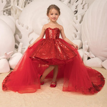 Dresses Ball-Gown Detachable-Train Sparkle Tulle Sequins Flower-Girls Princess Princess