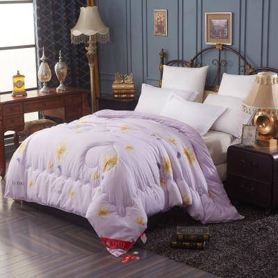 Роскошные атласные шелковые одеяло супер мягкий Осень Зима размер queen полный взрослых шелковое одеяло edredon дома отеля применение