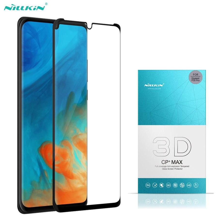 Cep telefonları ve Telekomünikasyon Ürünleri'ten Telefon Ekran Koruyucuları'de Huawei P30 Pro temperli cam anti patlama Nillkin 3D CP + Max 9H 3D kavisli kenar tam ekran koruyucu Film için Huawei P30 title=