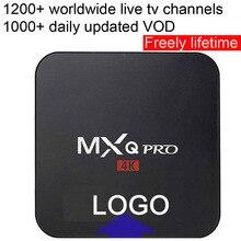 1pcs MXQPRO Custom Made Rockchip RK3229 Quad core Smart Android7.1 LIVE TV Streaming Box 1GB DDR 8GB ROM 1200+ live tv 1000+ VOD