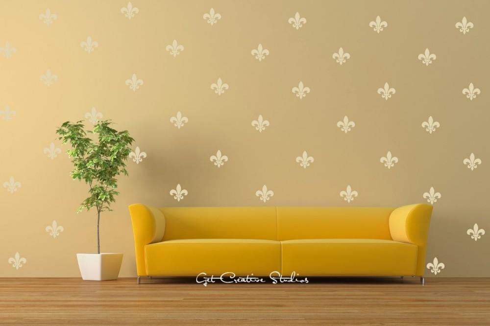 36gab. Zelta franču ģerbonis Fleur de lis vinila sienu uzlīmes, Francija Dizaina tapetes Icon Objekta karoga simbolu uzlīmes