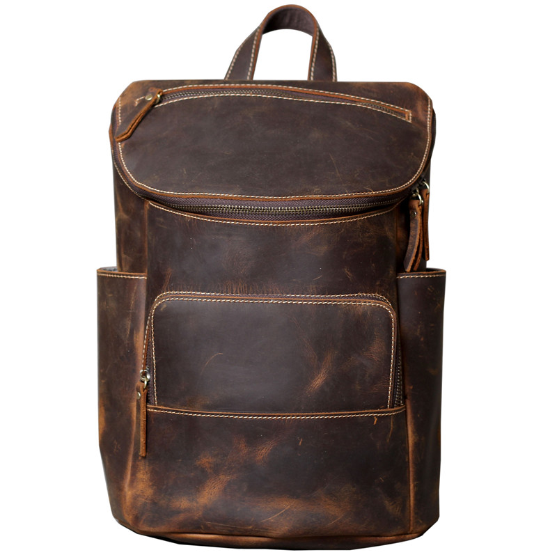 Dropship High Quality Oil Immersed Cow Leather Backpacks for Men Vintage Travel Daypacks Crazy Horse Leather Student Rucksacks