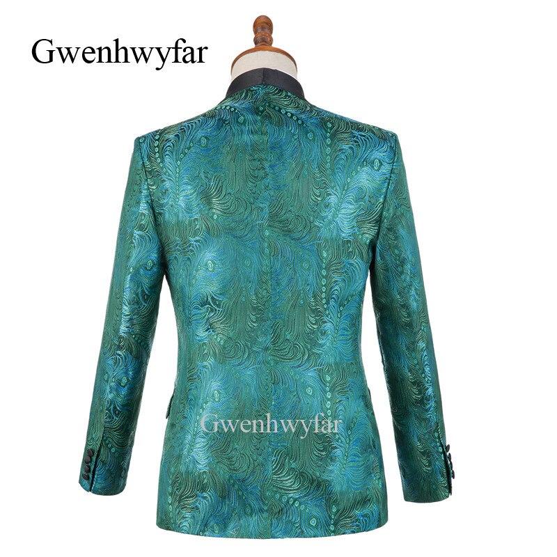 Homme Magnifique Costume Revers Hommes Pour Green blue Vert Fit Plume Pièces Motif Gwenhwyfar Col Châle red Slim 2 Noir Smoking Costumes TqXdOU6