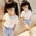 High Quality Fashion Girls Clothes Sets Summer Lace Tops+Plaid Pants 2pcs Spring Summer Baby Kids Clothes Set 2017 Brand New