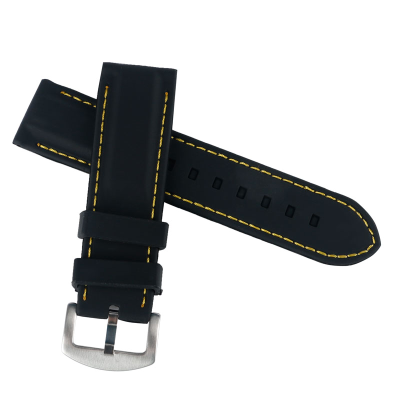 Yellow Stitching Soft Sport Waterproof Black Silicone Watch Strap Band Stainless Steel Pin Buckle Spring Bar 20mm/22mm/24mm/26mm black 20mm band width rubber wrist watch band strap stainless steel pin buckle 2 spring bars