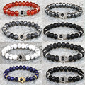 classic men jewelry 8mm natural black matte agate lava iron ore brown tiger eye red blue imperial grey snow stone beads bracelet