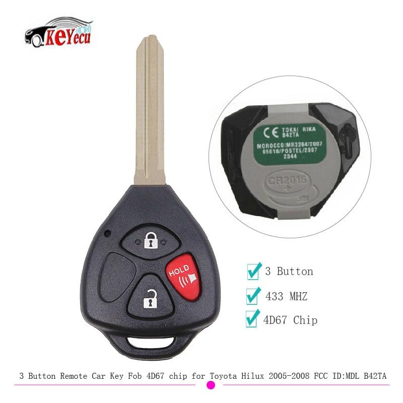 KEYECU 3 Butto Original Remote Key 433MHZ 4D67 Chip for Toyota Hilux 2005 2008 4Runner2003 2009